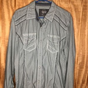 A BKE Slim Fit Blue Pearl Snap Front Pinstripe
